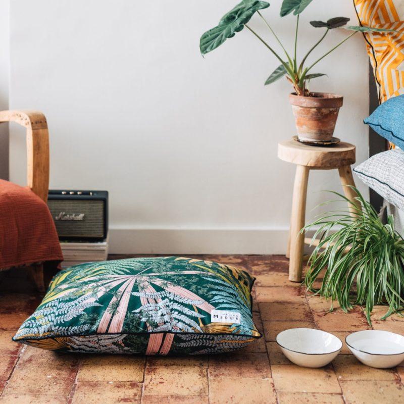 le coussin dixie pour chiens maison medor rectangle confortable et durable vert