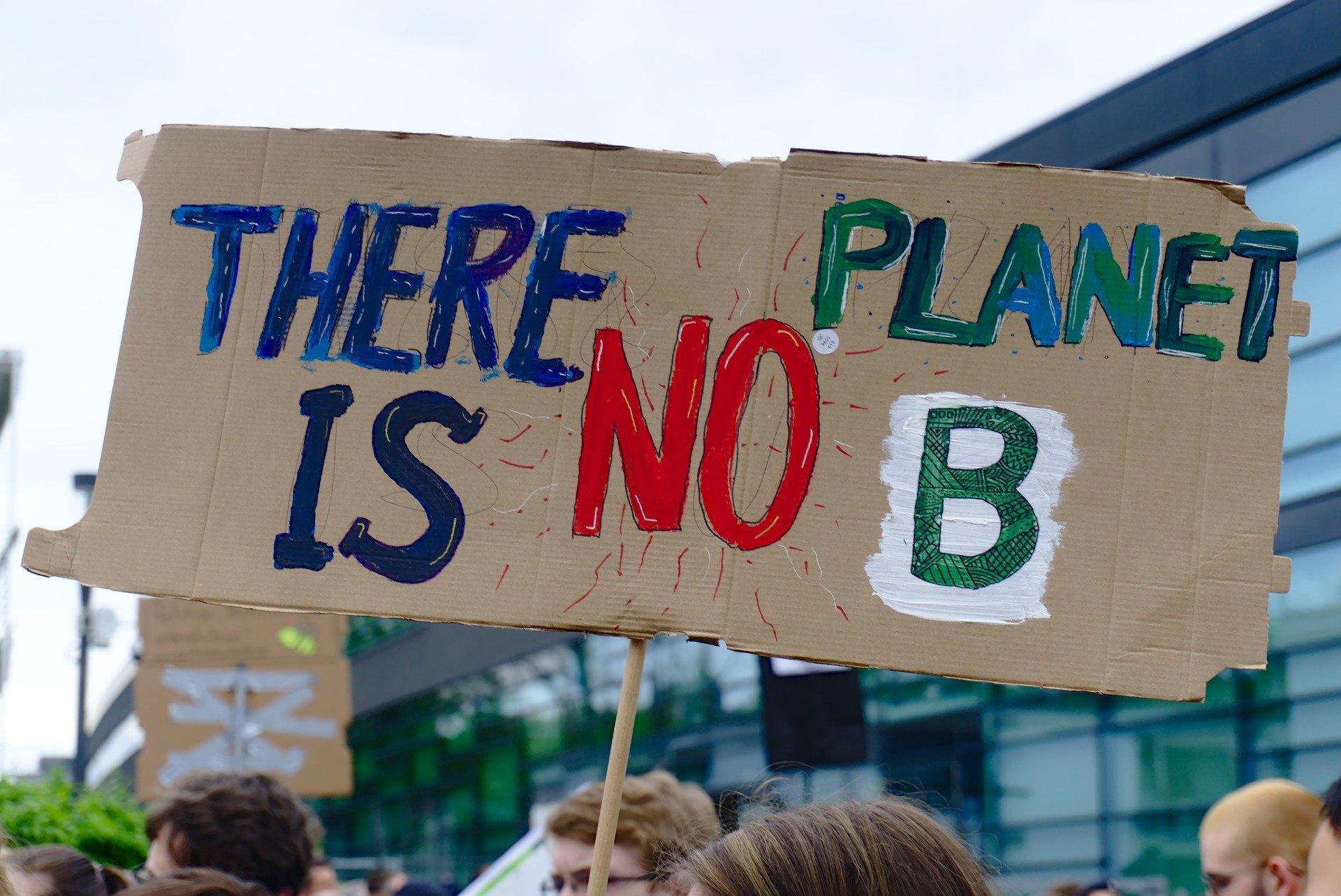 Pancarte d'une manifestation pour la planète