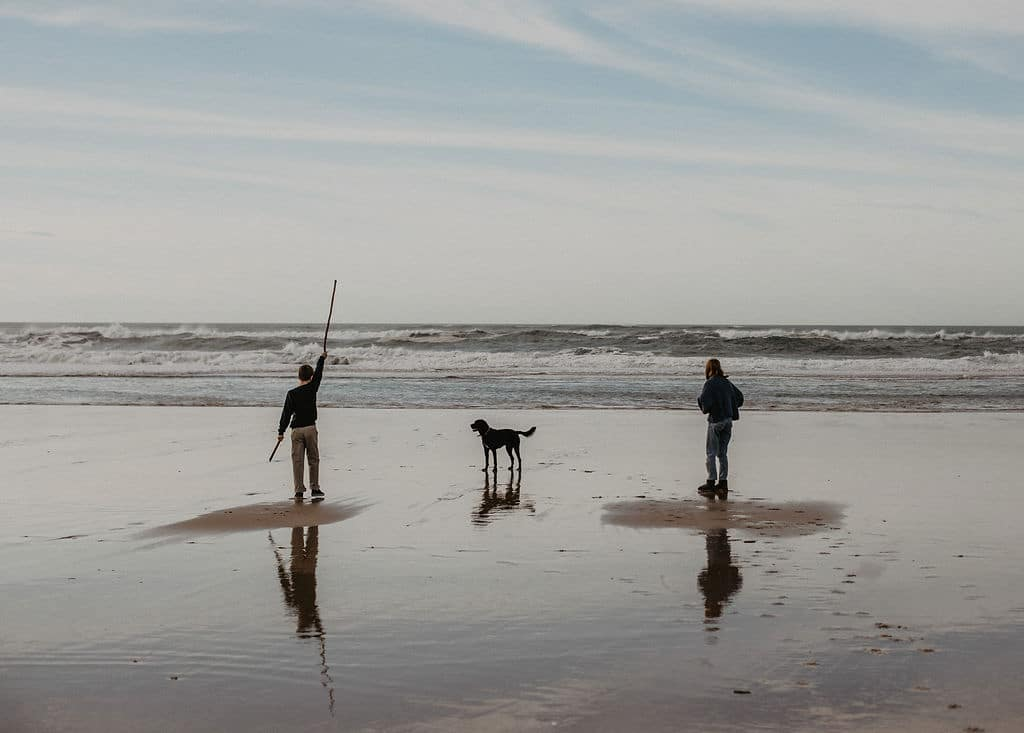 Jeux a la plage en famille avec un chien et des enfants